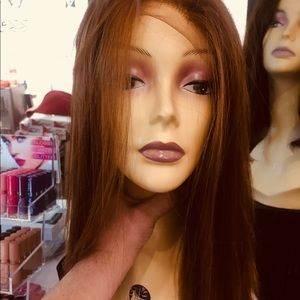 Wig copper Brown straight silky freepart Hairloss